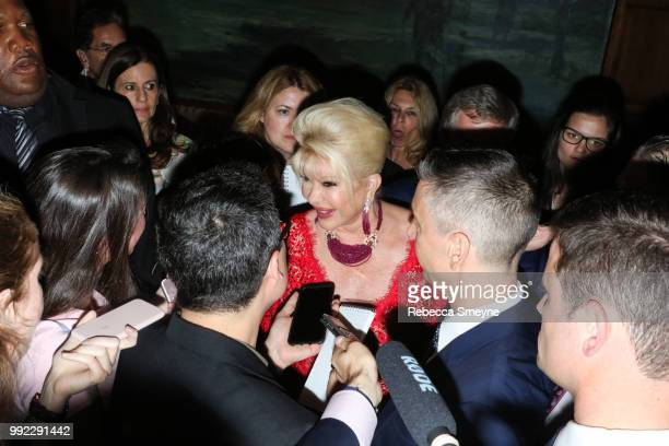 Ivana Trump answers questions from reporters at the book launch party and reception for Ivana Trump and Gianluca Mech's 'The Italiano Diet' at The...