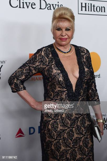 Ivana Trump arrives for the traditionnal Clive Davis party on the eve of the 60th Annual Grammy Awards on January 28 in New York / AFP PHOTO / Jewel...