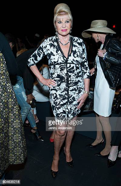 Ivana Trump attends the Dennis Basso fashion show during September 2016 New York Fashion Week The Shows at The Arc Skylight at Moynihan Station on...