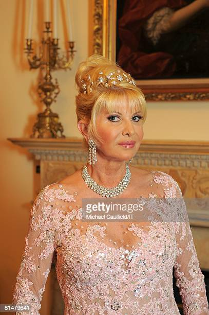 Ivana Trump before her wedding to Rossano Rubicondi at MaraLago on April 12 2008 in Palm Beach Florida Ivana Trump's jewelry is by Leviev a diamond...