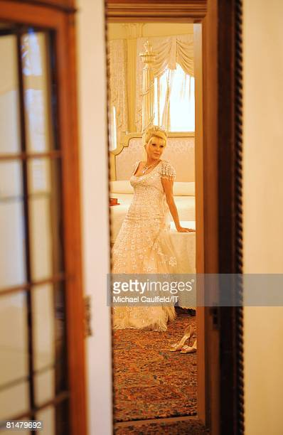 Ivana Trump before her wedding to Rossano Rubicondi at MaraLago on April 12 2008 in Palm Beach Florida Ivana Trump's jewelry is by Leviev her hair by...