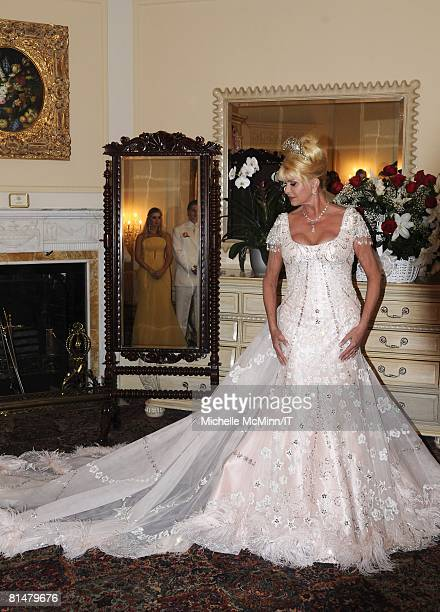 Ivana Trump before her wedding to Rossano Rubicondi at the MaraLago Club on April 12 2008 in Palm Beach Florida Ivana Trump's jewelry is by Leviev a...