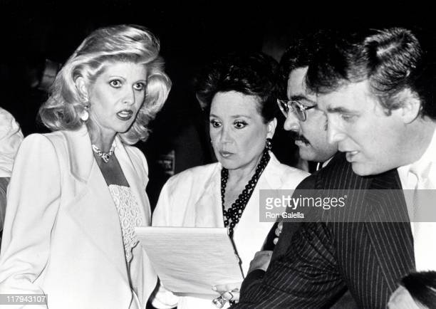 Ivana Trump Cindy Adams and Donald Trump during Mike Tyson vs Michael Spinks Fight at Trump Plaza June 27 1988 at Trump Plaza in Atlantic City New...