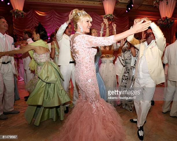 Ivana Trump dances during her wedding reception at the MaraLago Club on April 12 2008 in Palm Beach Florida Ivana Trump's jewelry is by Leviev a...