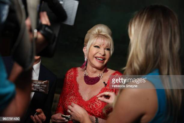 Ivana Trump does a television interview at the book launch party and reception for Ivana Trump and Gianluca Mech's 'The Italiano Diet' at The Oak...