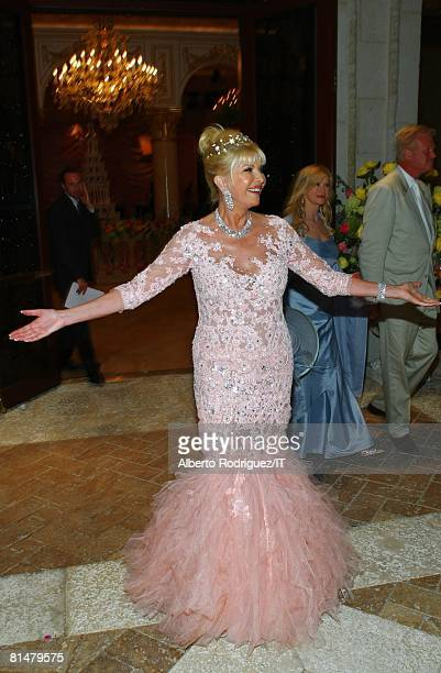 RATES Ivana Trump during her wedding to Rossano Rubicondi at the MaraLago Club on April 12 2008 in Palm Beach Florida Ivana Trump's jewelry is by...