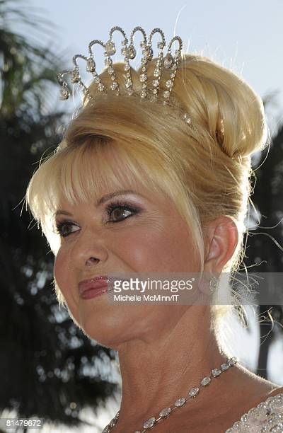 Ivana Trump during her wedding to Rossano Rubicondi at the MaraLago Club on April 12 2008 in Palm Beach Florida Ivana Trump's jewelry is by Leviev a...