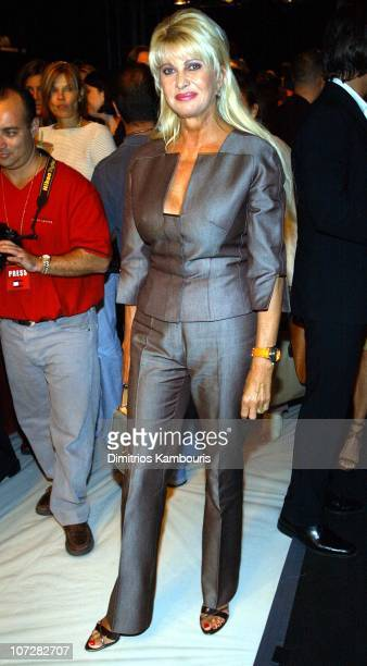 Ivana Trump during MercedesBenz Fashion Week Spring Collections 2003 Carolina Herrera Show Front Row at Bryant Park in New York City New York United...