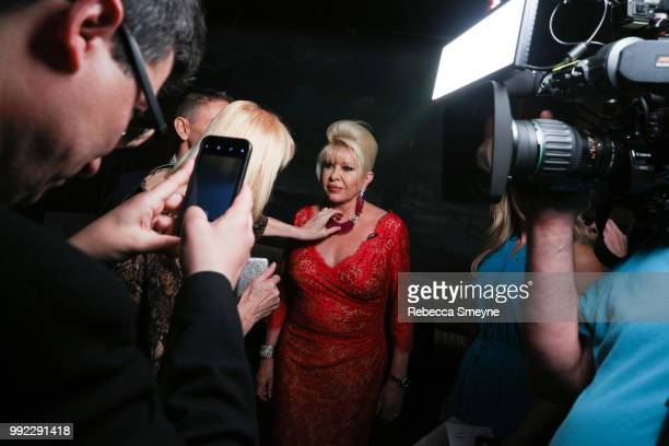 Ivana Trump is prepped for a television interview at the book launch party and reception for Ivana Trump and Gianluca Mech's 'The Italiano Diet' at...