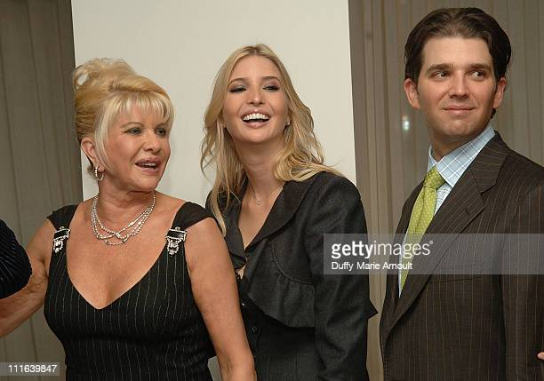 Ivana Trump Ivanka Trump and Donald Trump Jr attend Italian singer Nicola Congiu's private performance at 500 Park Avenue on October 15 2007 in New...
