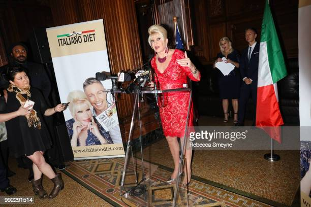 Ivana Trump makes remarks at the book launch party and reception for Ivana Trump and Gianluca Mech's 'The Italiano Diet' at The Oak Room at the Plaza...