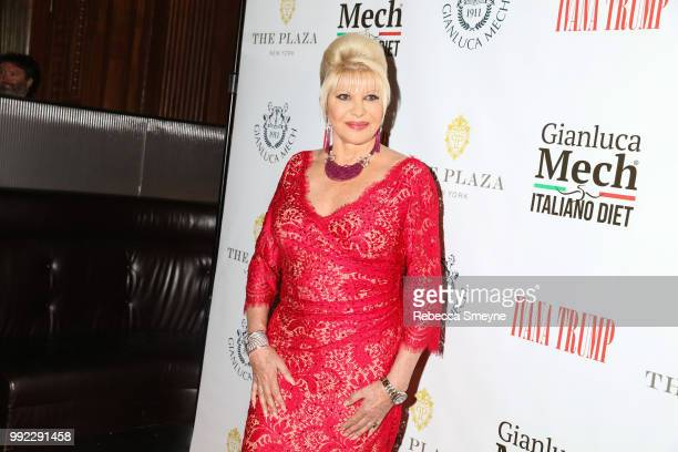 Ivana Trump poses for photos at the book launch and reception for Ivana Trump and Gianluca Mech's 'The Italiano Diet' at The Oak Room at the Plaza on...