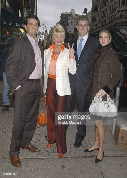Ivana Trump poses with her children Donald Trump Jr Eric Trump and Ivanka Trump after lunch at Frederick's Madison November 16 2006 in New York City