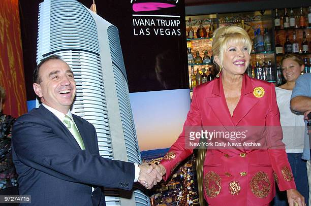 Ivana Trump shakes hands with her business partner Australian developer Victor Altomare at Club FIZZ as they launch Ivana Las Vegas an 82story...