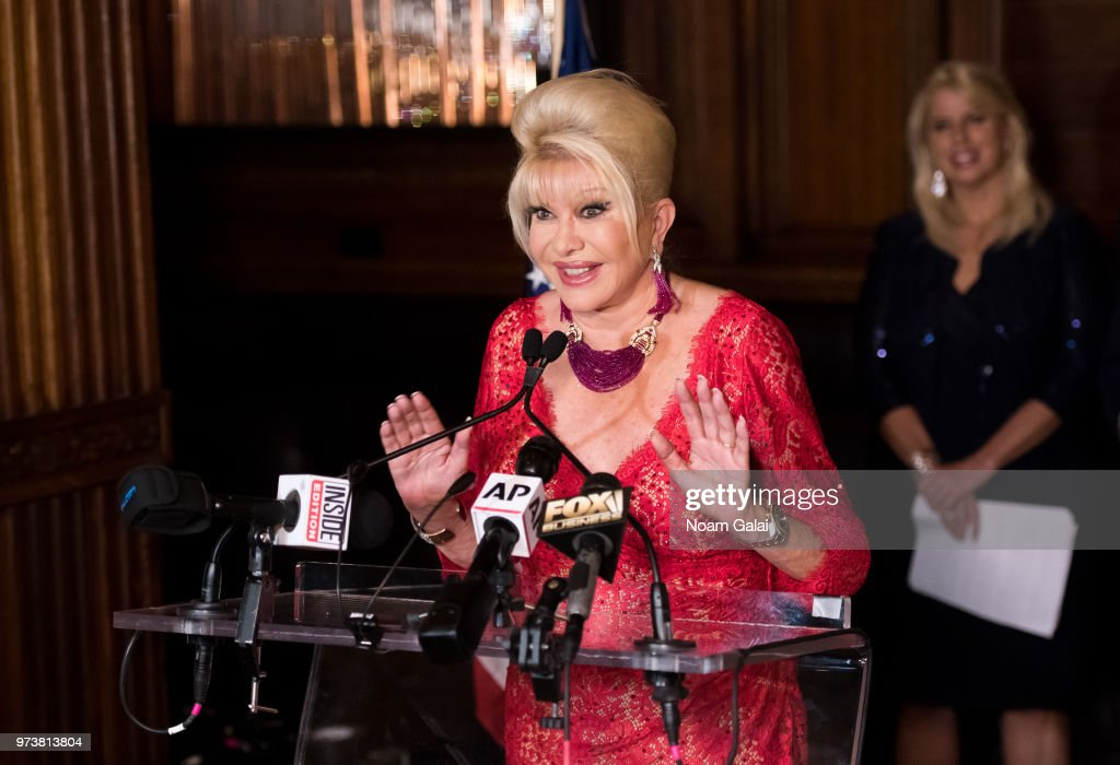 Ivana Trump speaks at a press conference announcing her new campaign to fight obesity at The Plaza Hotel on June 13, 2018 in New York City.