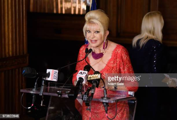 Ivana Trump speaks at a press conference announcing her new campaign to fight obesity at The Plaza Hotel on June 13 2018 in New York City