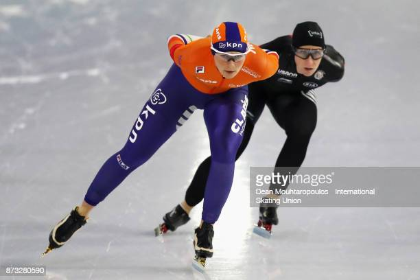 Ivanie Blondin of Canada and Irene Schouten of the Netherlands compete in the 3000m Womens race on day three during the ISU World Cup Speed Skating...