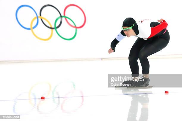 Ivanie Blondin of Canada competes during the Women's 3000m Speed Skating event during day 2 of the Sochi 2014 Winter Olympics at Adler Arena Skating...