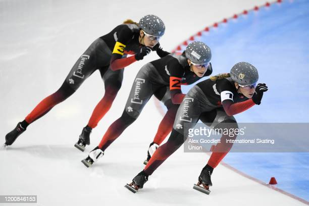 Ivanie Blondin of Canada leads in the ladies team pursuit during the ISU World Single Distances Speed Skating Championships on February 14 2020 in...