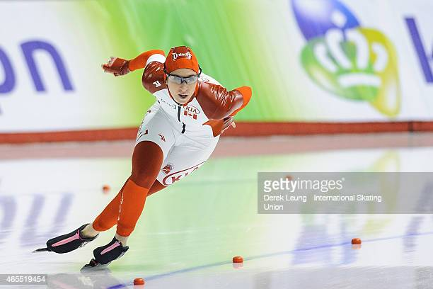 Ivanie Blondin skates in the women's 500m during the ISU World Allround Speed Skating Championships at Olympic Oval on March 7 2015 in Calgary...