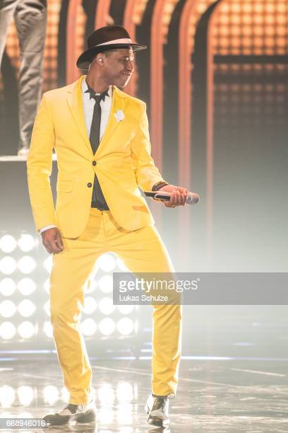 Ivanildo Kembel performs during the second event show of the tv competition 'Deutschland sucht den Superstar' at Coloneum on April 15 2017 in Cologne...