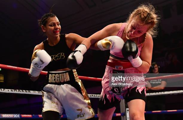 Ivanka Ivanova takes on Roqsana Begum during their SuperFlyweight fight at York Hall on March 17 2018 in London England