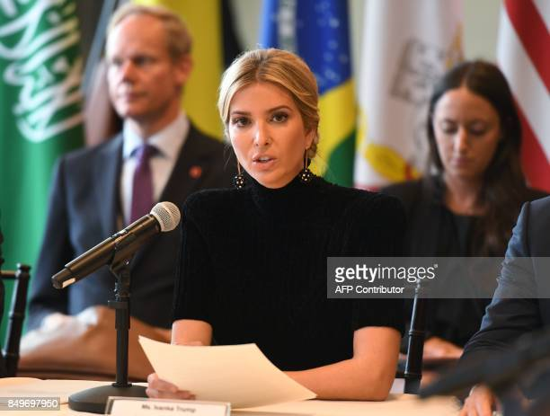 Ivanka Trump addresses the event A Call to Action to End Forced Labour Modern Slavery and Human Trafficking on September 19 2017 at the United...