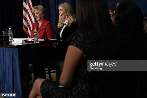 Ivanka Trump Adviser and daughter of President Donald Trump and US Small Business Administration Administrator Linda McMahon react as they...