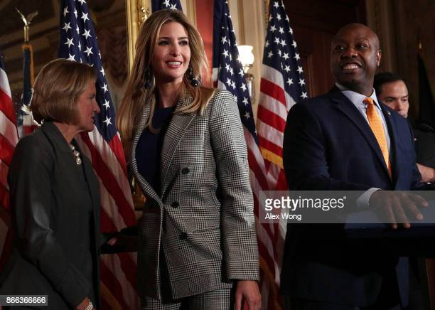 Ivanka Trump Adviser and daughter of President Donald Trump leaves as US Sen Shelley Moore Capito Sen Tim Scott and Sen Marco Rubio look on during a...