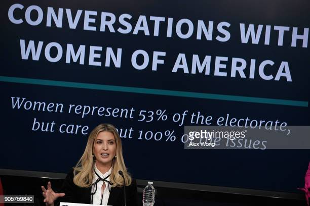 Ivanka Trump Adviser and daughter of President Donald Trump speaks as she participates in a Conversations with the Women of America panel at the...