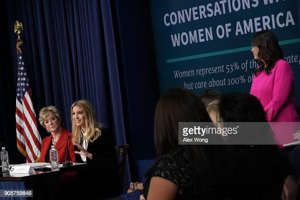 Ivanka Trump Adviser and daughter of President Donald Trump speaks as US Small Business Administration Administrator Linda McMahon and White House...