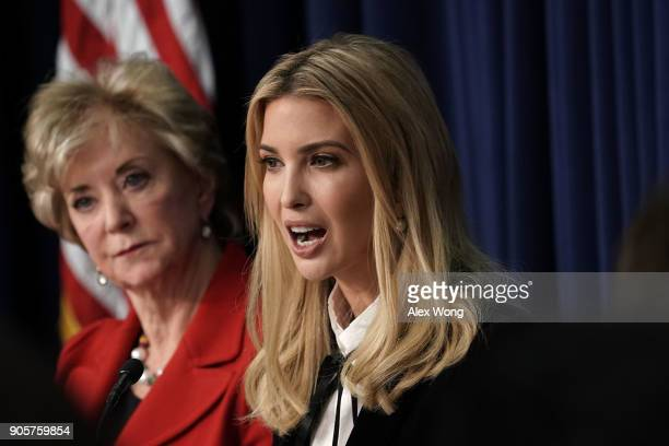 Ivanka Trump Adviser and daughter of President Donald Trump speaks as US Small Business Administration Administrator Linda McMahon listens as they...