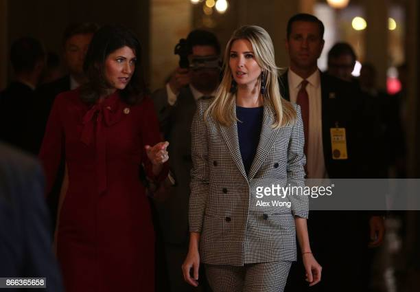 Ivanka Trump , Adviser and daughter of President Donald Trump, walks with U.S. Rep. Kristi Noem prior to a news conference October 25, 2017 at the...