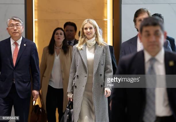 Ivanka Trump advisor to and daughter of US President Donald Trump arrives at Incheon International Airport on February 23 2018 in Seoul South Korea...