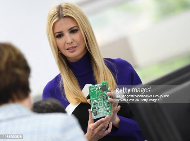 Ivanka Trump Advisor to the President of the United States holds a training circuit board during a tour of Lockheed Martin on July 22 2019 in...