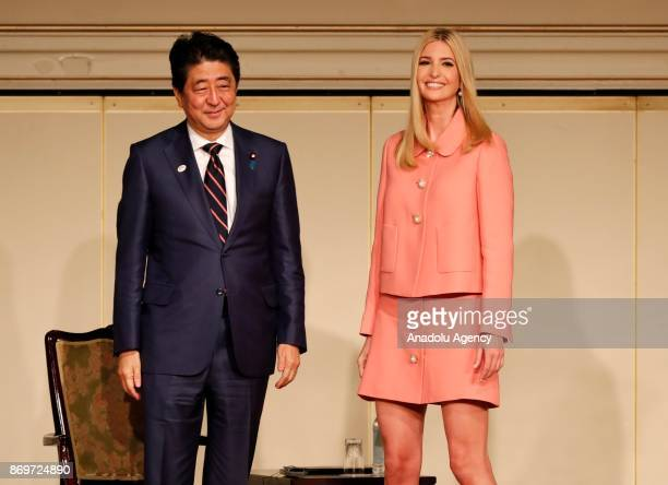 Ivanka Trump , advisor to U.S. President Donald Trump, and Japan's Prime Minister Shinzo Abe attend a meeting of the World Assembly for Women in...