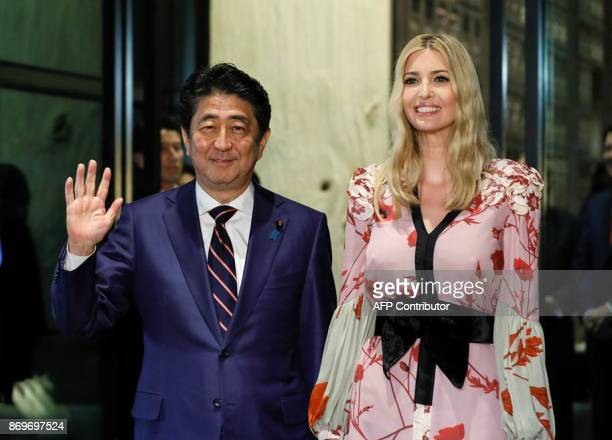 Ivanka Trump Advisor to US President Donald Trump is welcomed by Japanese Prime Minister Shinzo Abe for a dinner at a restaurant in Tokyo on November...