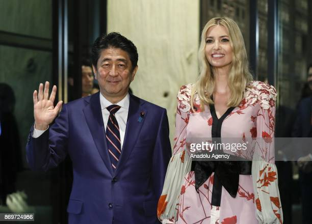 Ivanka Trump Advisor to US President Donald Trump is welcomed by Japanese Prime Minister Shinzo Abe for a dinner at a restaurant in Tokyo Japan 03...