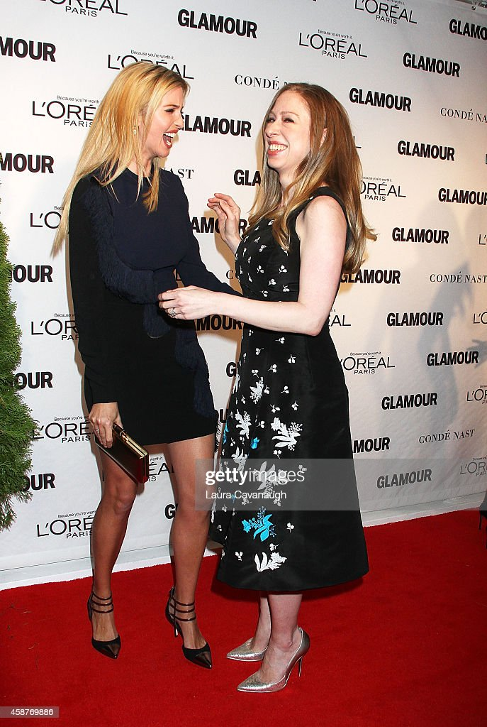 NY: FILE PHOTOS: Ivanka Trump And Chelsea Clinton Greet Each Other At The 2014 Glamour Women Of The Year Awards