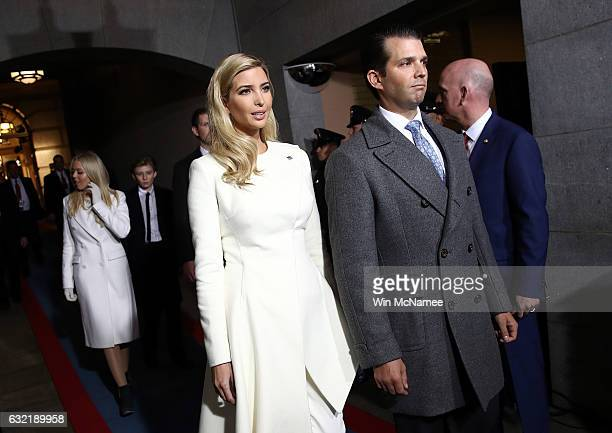 Ivanka Trump and Donald Trump Jr arrive on the West Front of the US Capitol on January 20 2017 in Washington DC In today's inauguration ceremony...