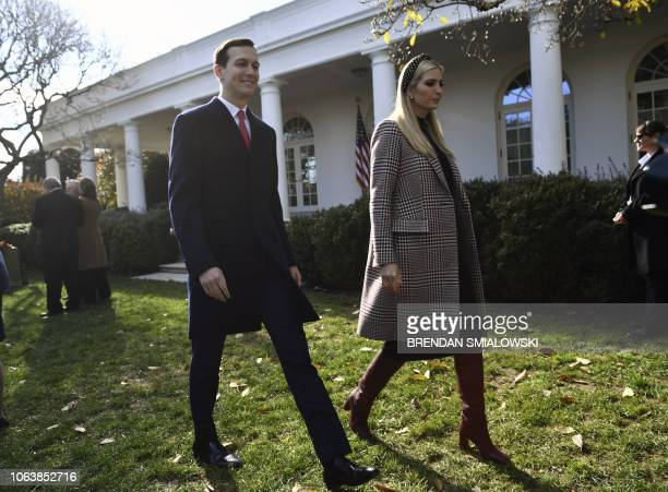 Ivanka Trump and her husband Jared Kushner arrive for the annual turkey pardoning ceremony at the White House in Washington DC on November 20 2018