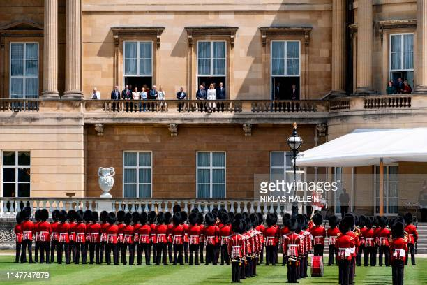 Ivanka Trump and her husband special advisor to the US president Jared Kushner watch from the balcony a welcome ceremony at Buckingham Palace in...