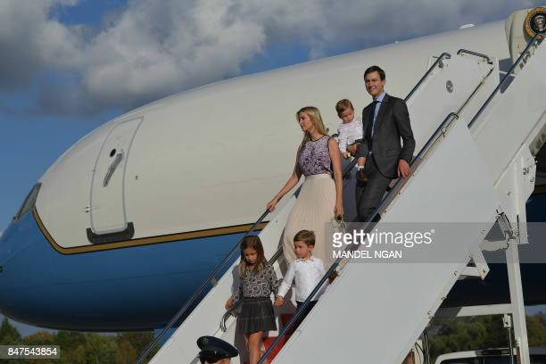 Ivanka Trump and husband Jared Kushner step off Air Force One with their children on September 15 2017 in Morristown New Jersey US President Donal...