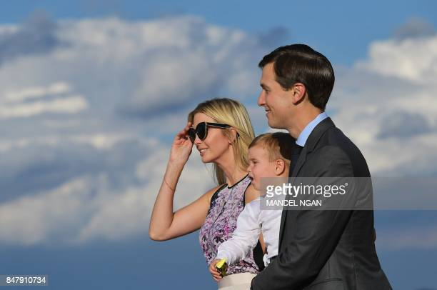 Ivanka Trump and husband Jared Kushner step off Air Force One with their child on September 15 2017 in Morristown New Jersey US President Donal Trump...