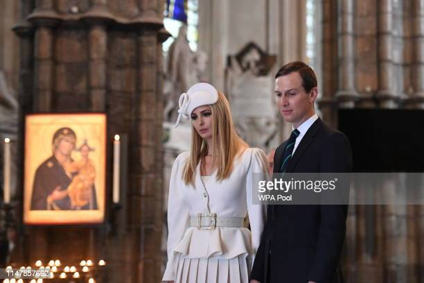 Ivanka Trump and husband special advisor to the US president Jared Kushner look on during a visit to Westminster Abbey on June 03 2019 in London...