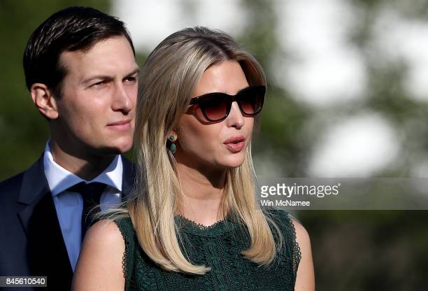 S Ivanka Trump and Jared Kushner arrive for a ceremony on the South Lawn of the White House marking the September 11 attacks September 11 2017 in...