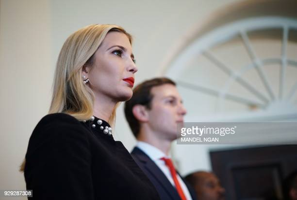 Ivanka Trump and Jared Kushner attend a Cabinet meeting in the Cabinet Room of the White House on March 8 2018 in Washington DC / AFP PHOTO / MANDEL...