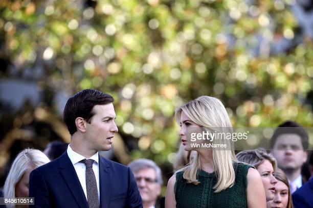 S Ivanka Trump and Jared Kushner attend a ceremony on the South Lawn of the White House marking the September 11 attacks September 11 2017 in...