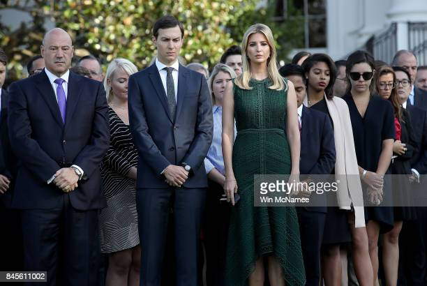 Ivanka Trump and Jared Kushner attend a ceremony on the South Lawn of the White House marking the September 11 attacks September 11 2017 in...