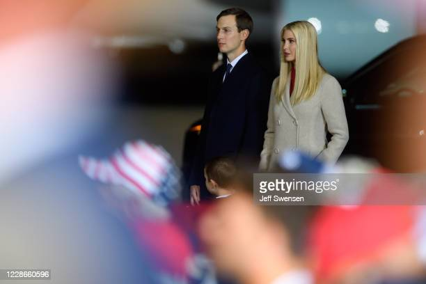Ivanka Trump and Jared Kushner listen as President Donald Trump speaks at a campaign rally at Atlantic Aviation on September 22, 2020 in Moon...